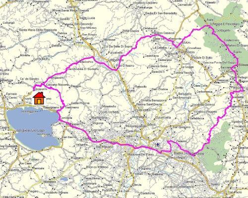 Cabrio Vakantie Italie, Assisi & Gubbio Kaart