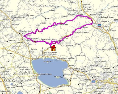 Cabrio Vakantie Italie, Cortona kaart